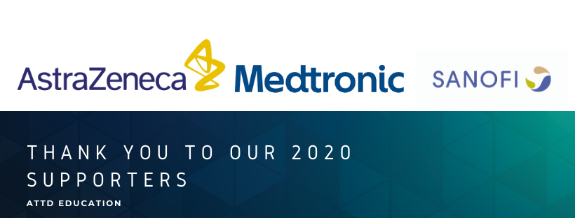 this image says Thank you to the ATTD 2020 Supporters - it includes logos for AstraZeneca , Medtronic , and Sanofi
